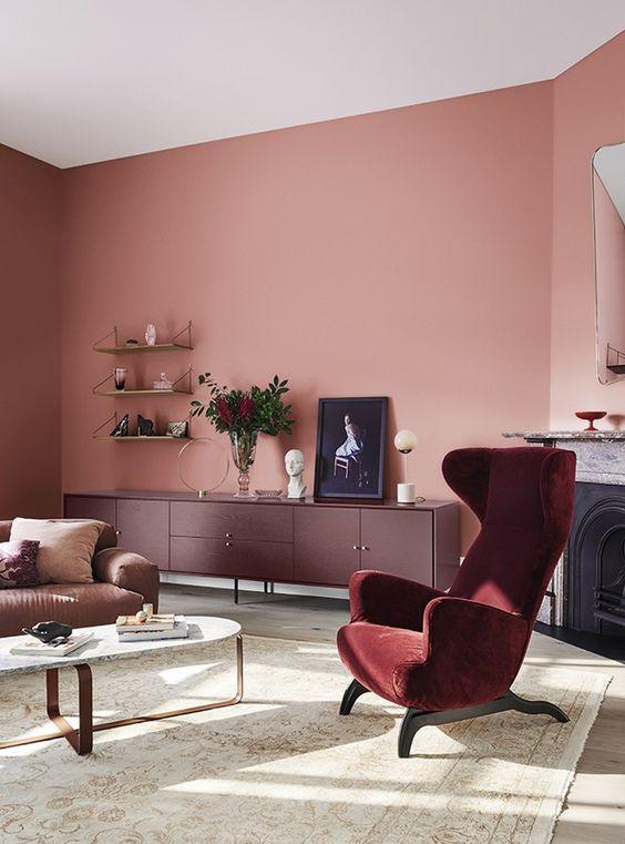 decoração cor marsala