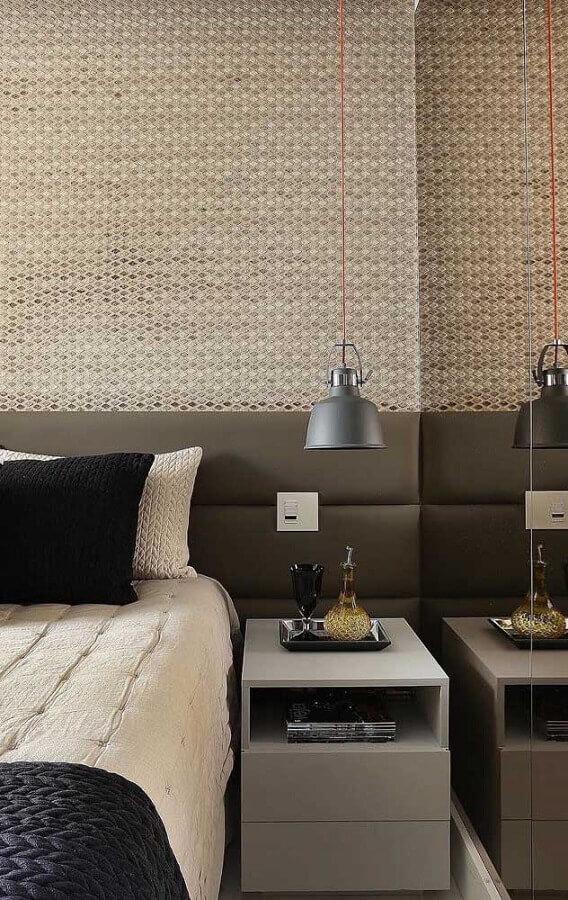 decoração em tons neutros com pendente para quarto Foto Wood Save