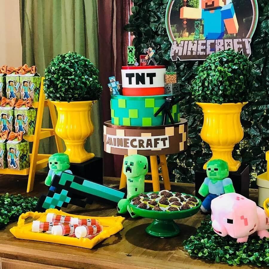 decoração festa minecraft - tema de aniversário para menino Foto Mil Dicas de Mãe