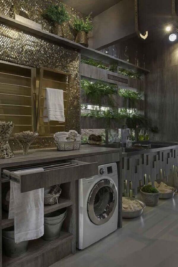 decoração lavanderia moderna com móveis planejados e máquina de lavar e secar Foto Revista VD