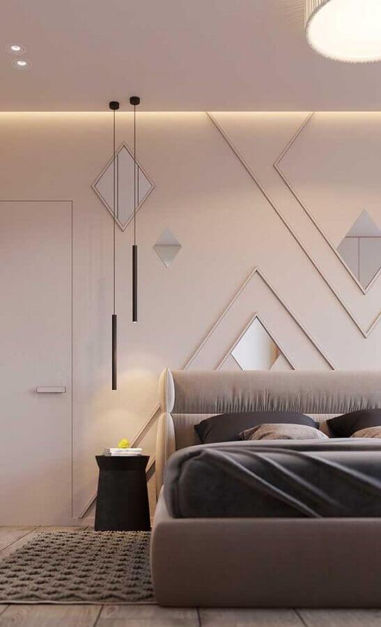decoração minimalista com pendente para quarto decorado em tons neutros Foto Ideias Decor