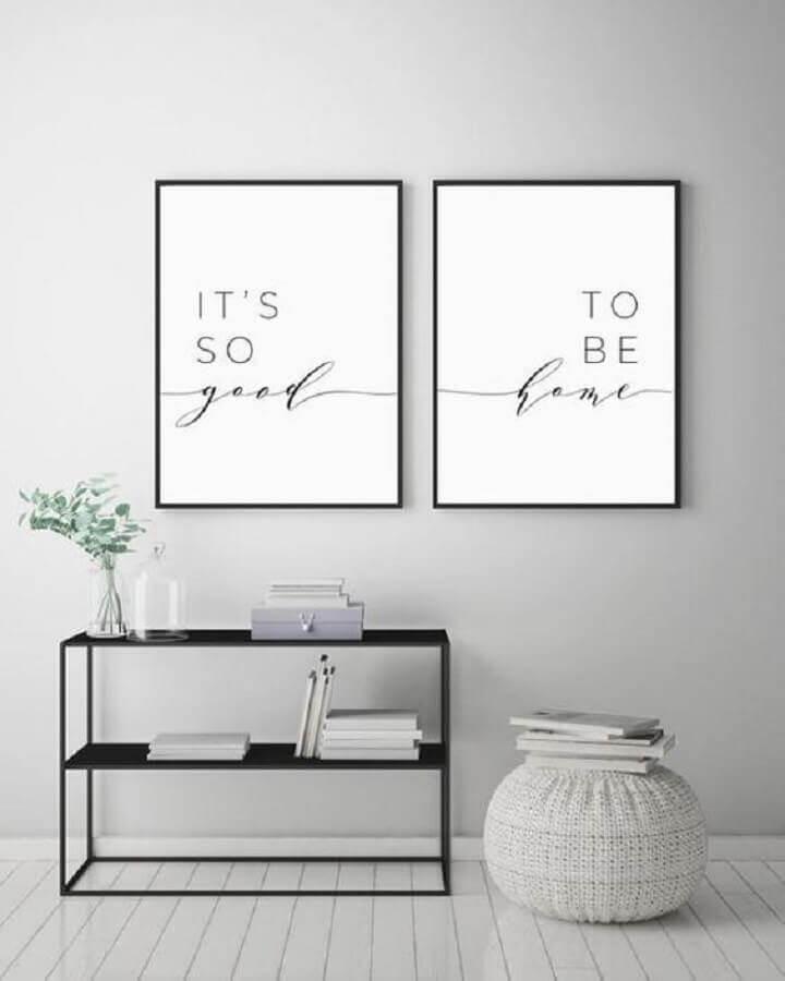 decoração minimalista com quadros decorativos com frases Foto DecorAmoreStore
