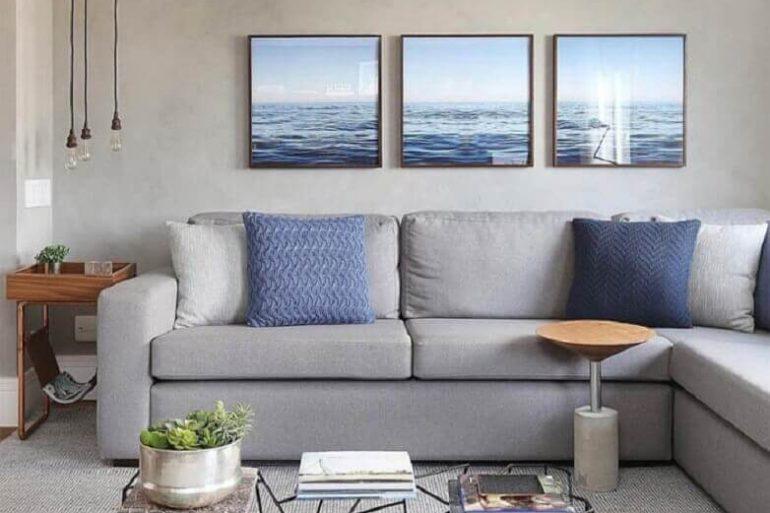 decoração moderna com quadros decorativos para sala cinza  Foto Webcomunica