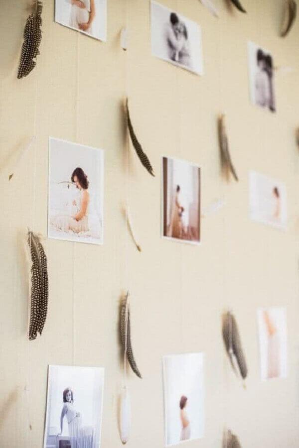decoração para chá de fraldas com mural de fotos  Foto Ideias Decor