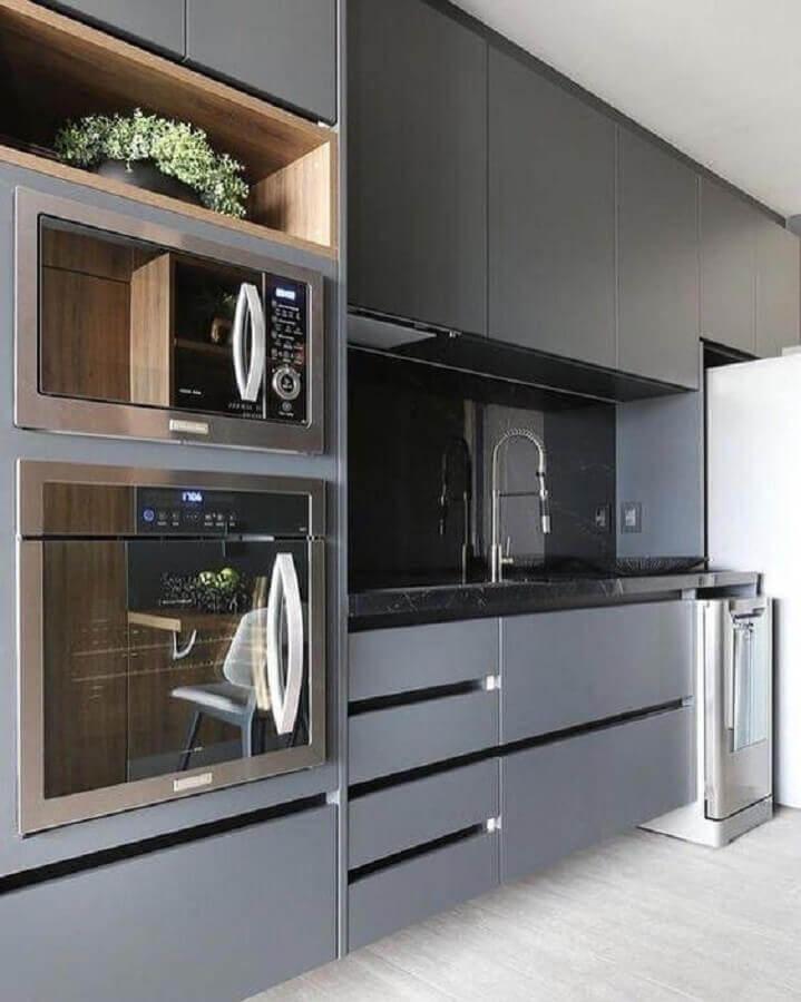 decoração para cozinha moderna cinza com forno elétrico embutir Foto Pinterest
