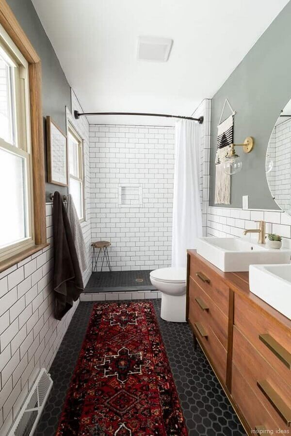 decoração simples com armário de banheiro de madeira com cuba branca quadrada  Foto Home Fashion Trend