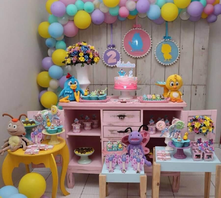 decoração simples para festa da galinha pintadinha rosa Foto Festa da Lu