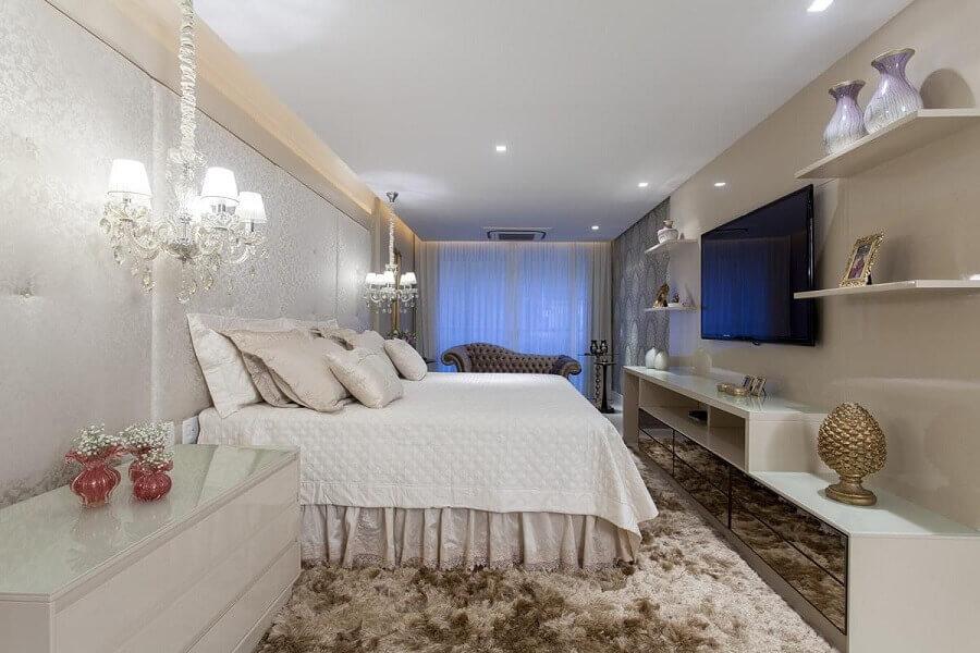 decoração sofisticado com pendente para quarto de casal Foto Vanja Maia