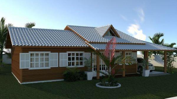 casa de madeira com telha colonial