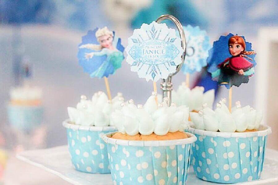 detalhes decoração festa frozen - tema de aniversário de menina Foto ConstruindoDecor