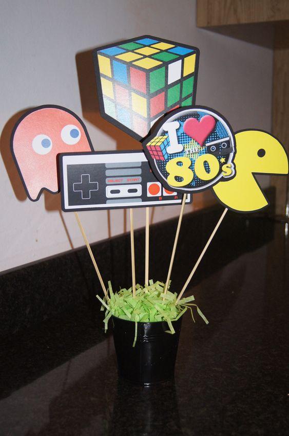 festa anos 80 - centro de mesa anos 80