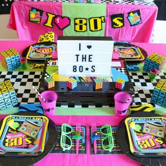 festa anos 80 - mesa de festa anos 80