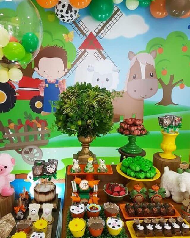 festa fazendinha decorada com mesa de guloseimas Foto A Festa Que Eu Quero