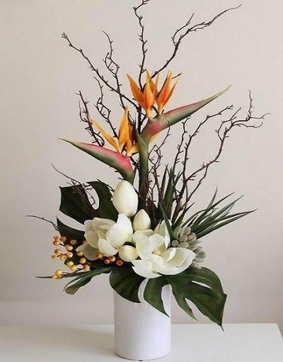 flores artificiais para decoração - arranjo com vaso branco