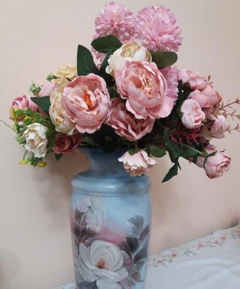 flores artificiais para decoração - arranjo de rosas de plástico