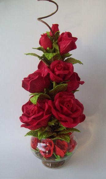 flores artificiais para decoração - arranjo de rosas vermelhos