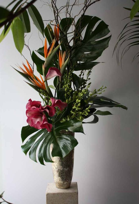 flores artificiais para decoração - arranjo tropical