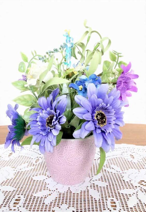 flores artificiais para decoração - arranjo variado com espécies diversas
