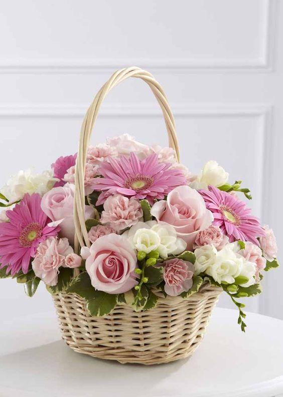 flores artificiais para decoração - cesta de rosas artificiais