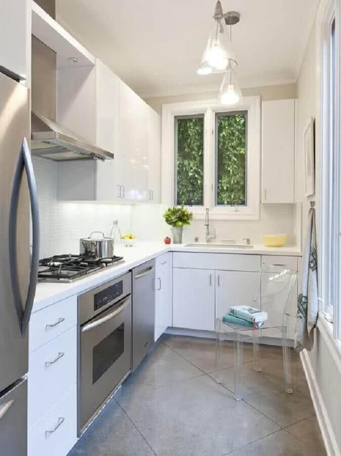 forno elétrico de embutir inox para cozinha branca pequena Foto Wood Save