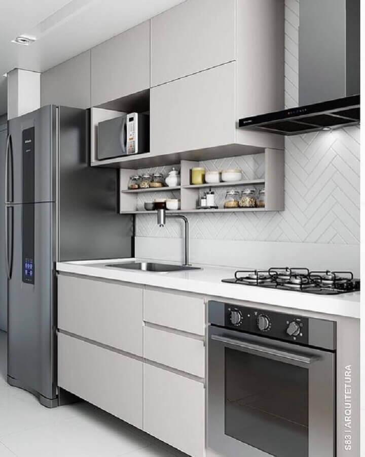 forno elétrico de embutir inox para cozinha planejada cinza Foto S83 Arquitetura