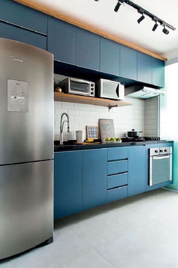 forno elétrico embutir para cozinha azul planejada Foto Levitrabook