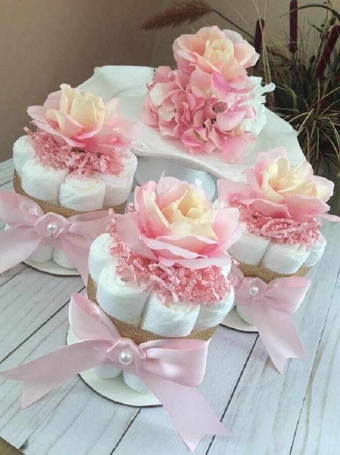 fraldas para decoração de chá de fralda Foto Pinterest