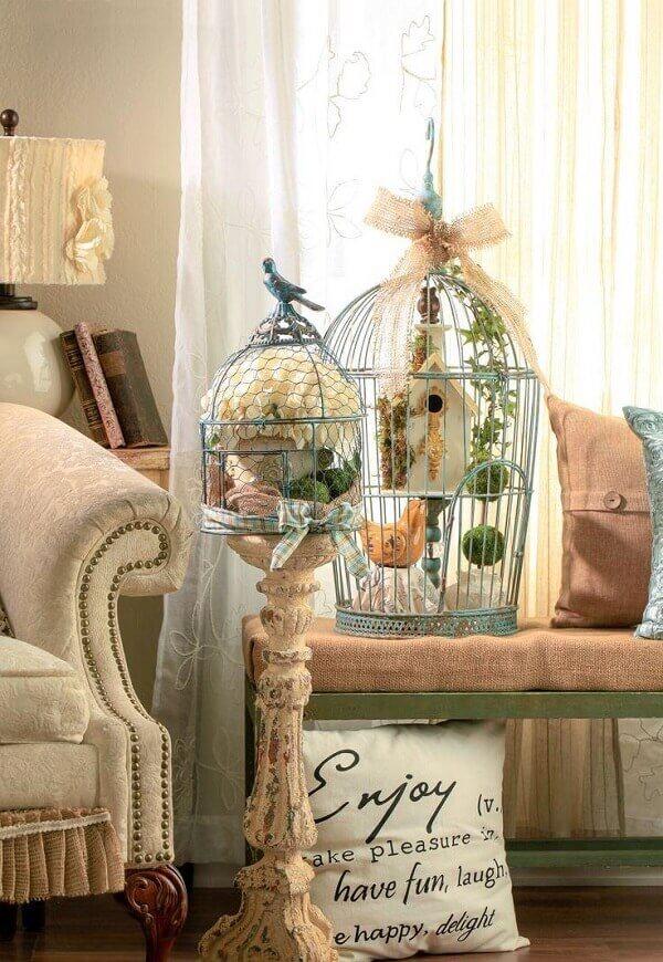 Gaiolas decorativas para decoração de sala de estar