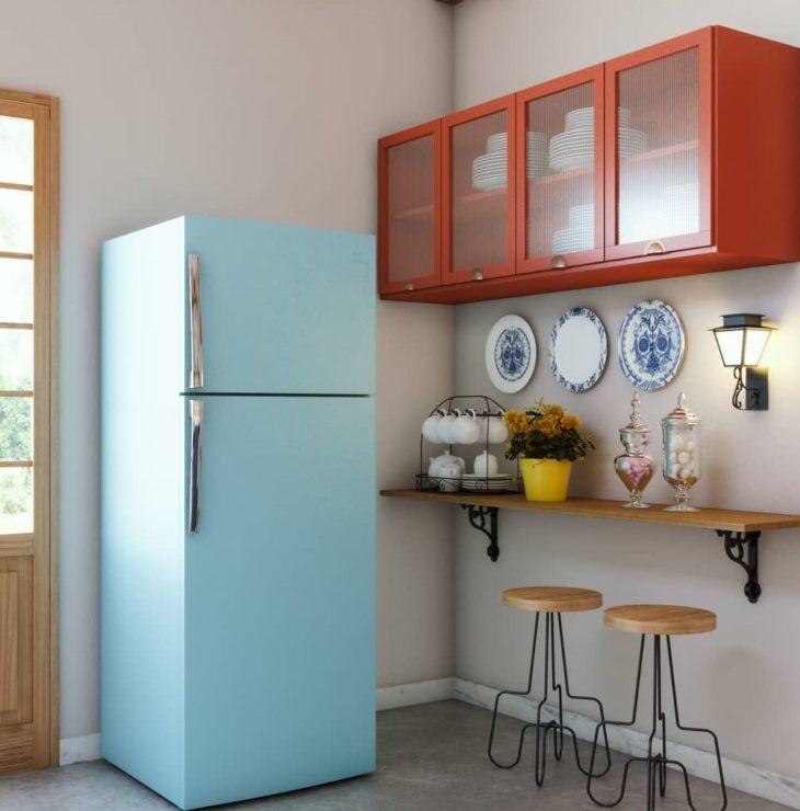 Geladeira retrô azul para cozinha pequena