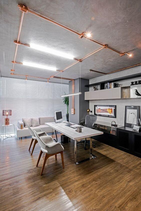 instalação elétrica - home office com eletrodutos aparentes