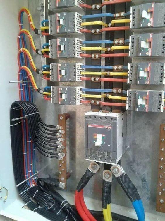 instalação elétrica - quadro elétrico com cabos