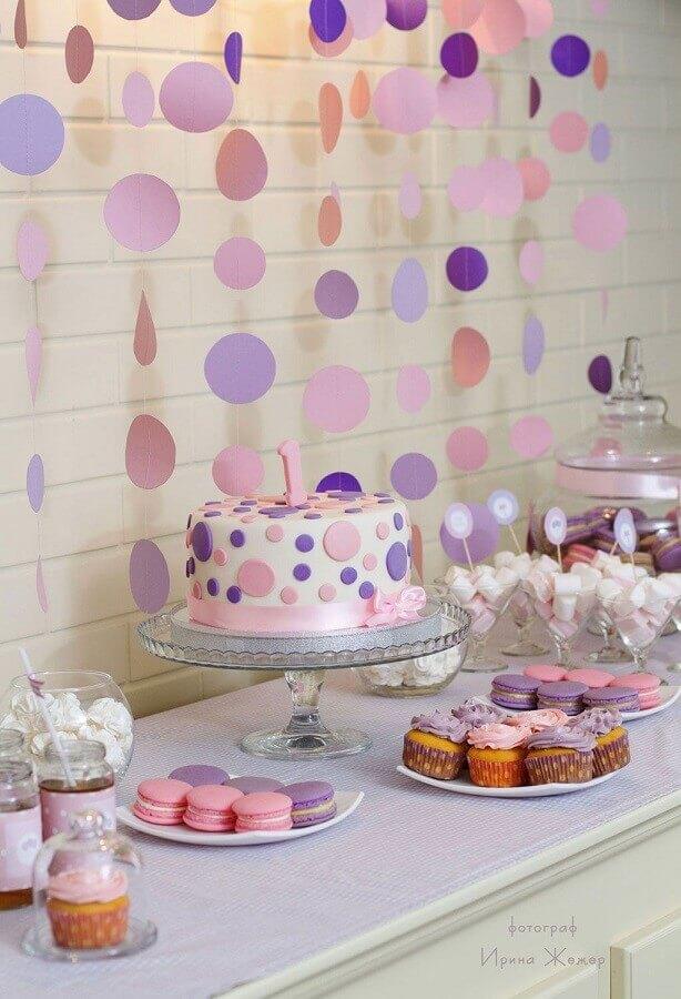 mesa de guloseimas simples rosa e lilas Foto Pinterest