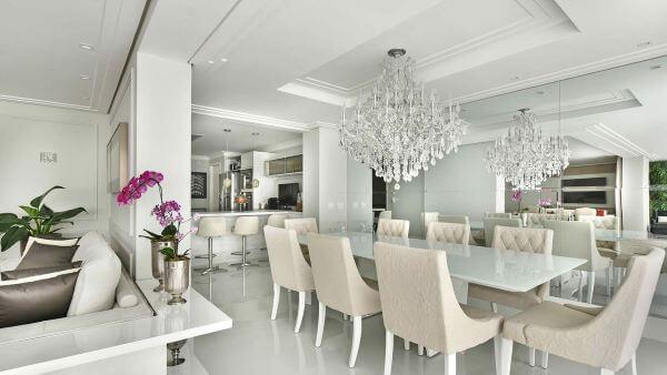 mesa jantar de vidro branco