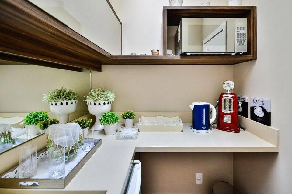 microondas espelhado - Copa com microondas embutido