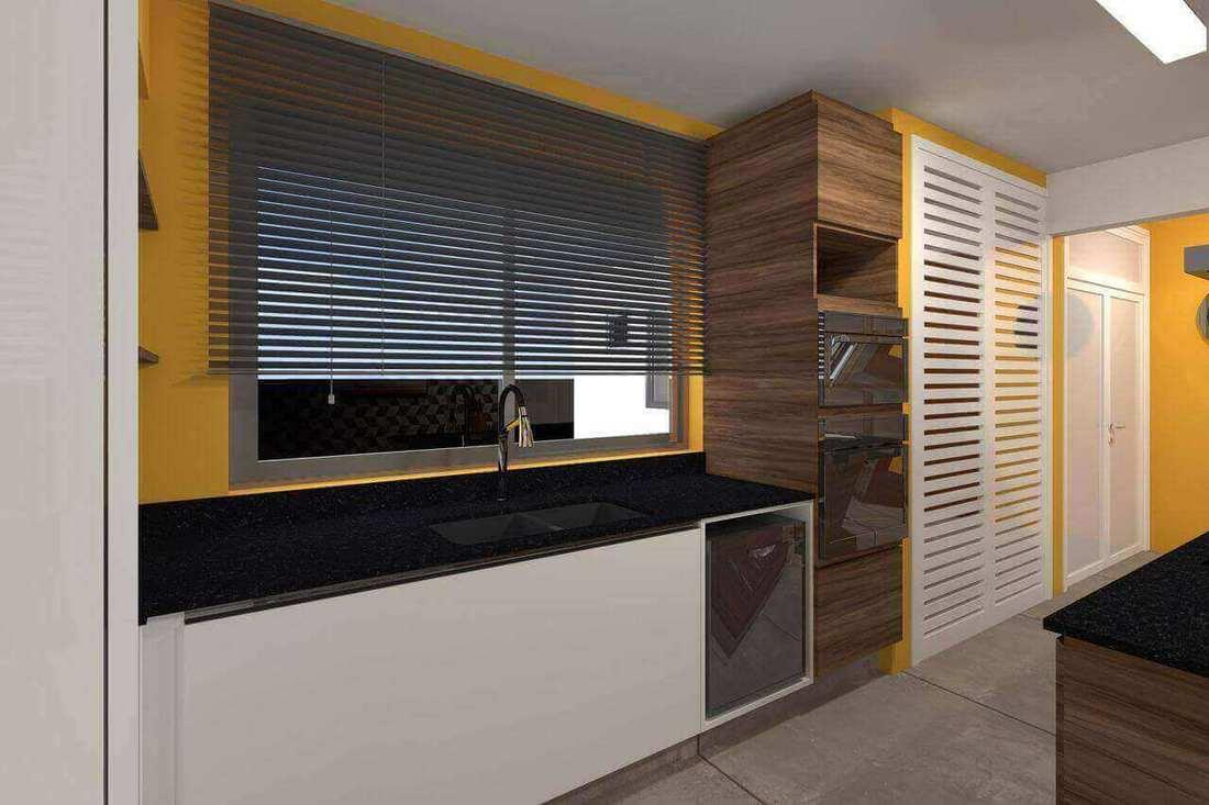 microondas espelhado - cozinha planejada com forno e microondas embutido