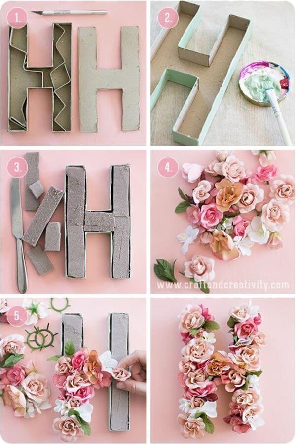 Passo a passo do Molde de letras de papelão e flores