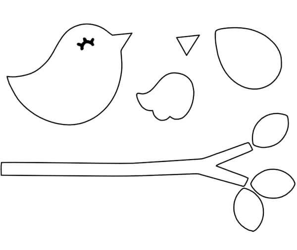 Molde de passarinho de feltro para artesanato