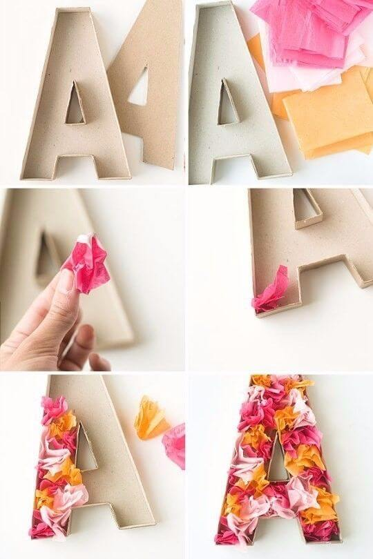 Moldes de letras 3D de papel
