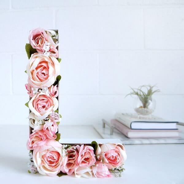 letras em mdf com flores