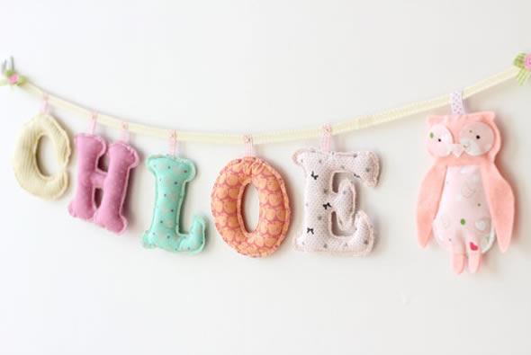 Moldes de letras para artesanato de quarto infantil