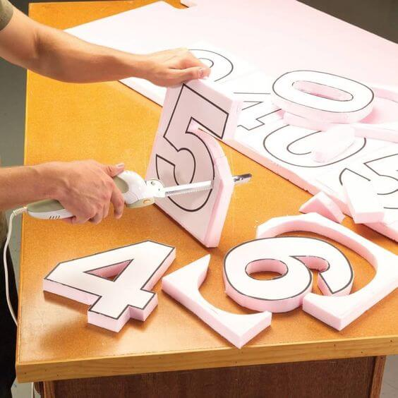 Moldes de letras e números de isopor
