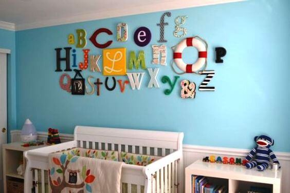 Moldes de letras para mural de quarto