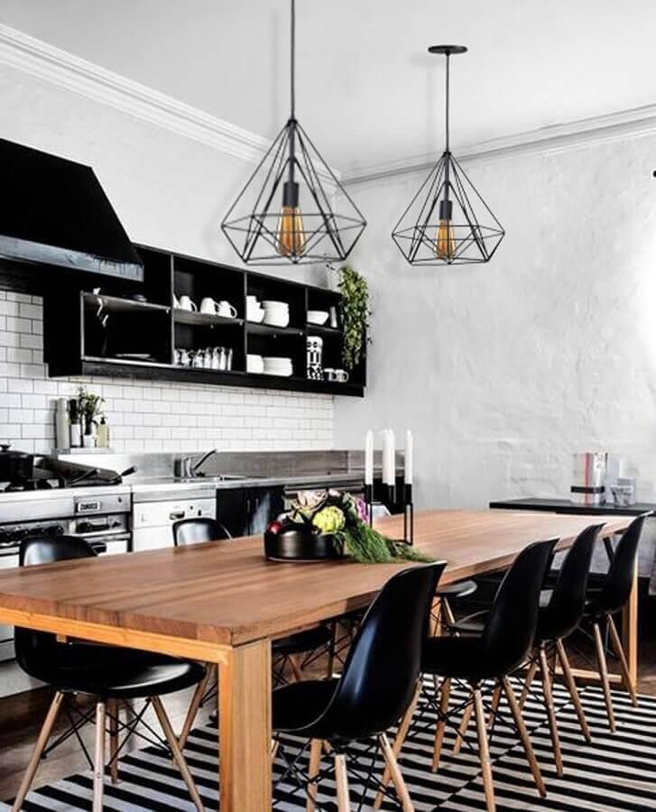 pendente aramado preto para decoração de cozinha estilo industrial Foto Pinterest