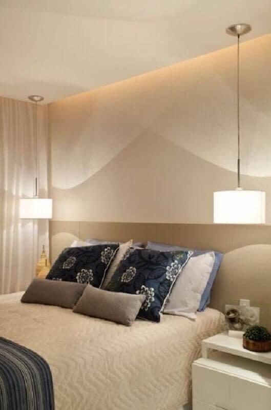 pendente para quarto de casal decorado em cores neutras Foto Party Style