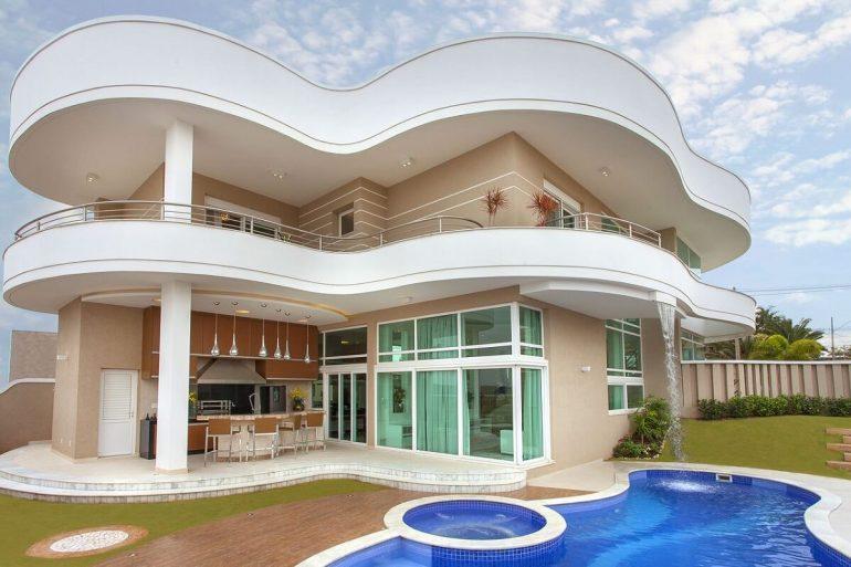 pintura de casa moderna com piscina