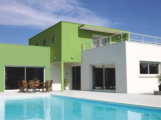 Que tal pinturas de casas modernas na cor verde
