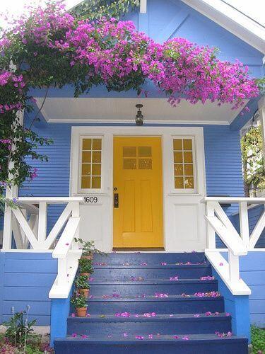 Pinturas de casas azul e amarelo