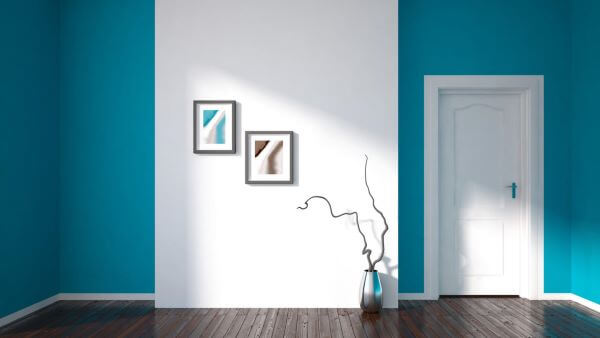 Pinturas de casas internas em turquesa