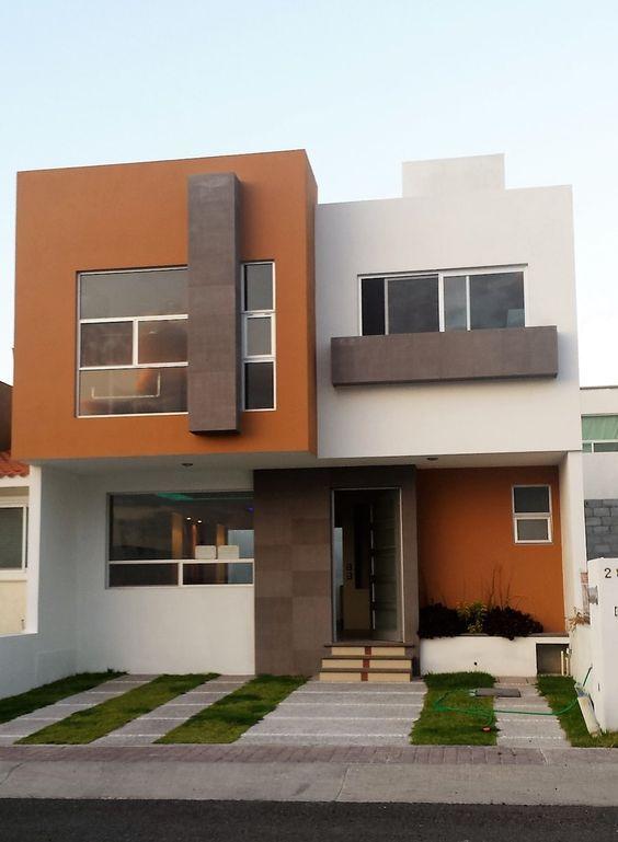 Pinturas de casas com laranja e marrom