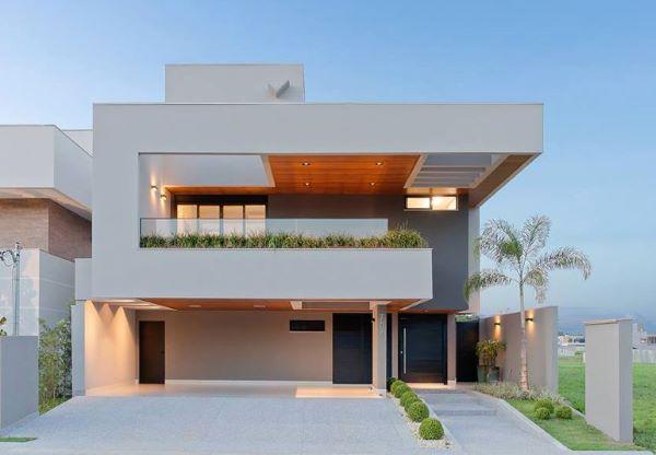 As pinturas de casas modernas com design em linhas retas
